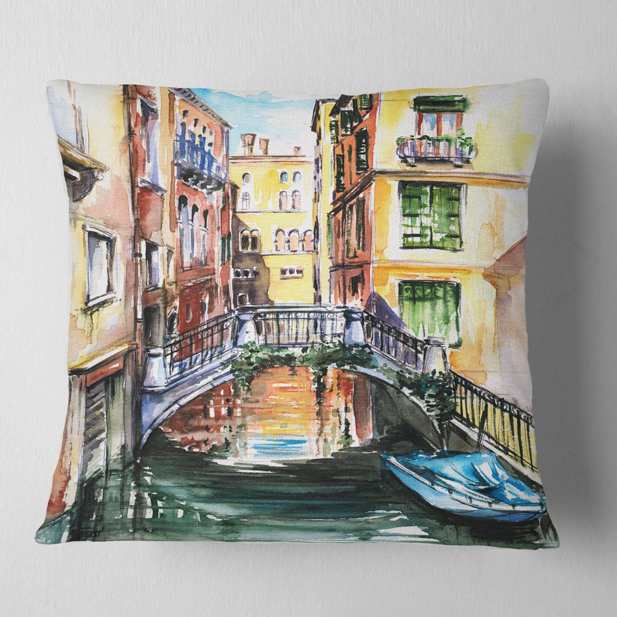 Cityscape Venice Canal Meeting Bridge Pillow Size: 18