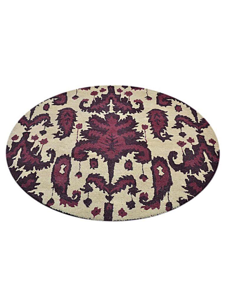 Smithton Hand-Tufted Wool Cream/Purple Area Rug Rug Size: Round 6'
