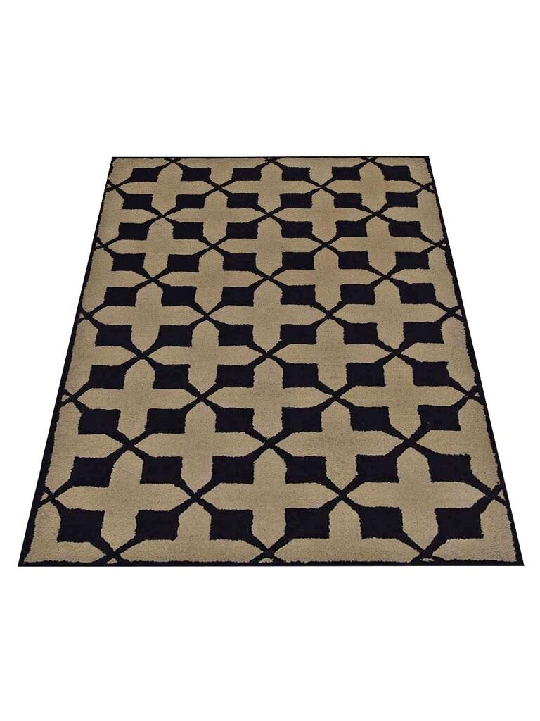 Housel Hand-Tufted Wool Beige/Black Area Rug Rug Size: Rectangle 8' x 11'