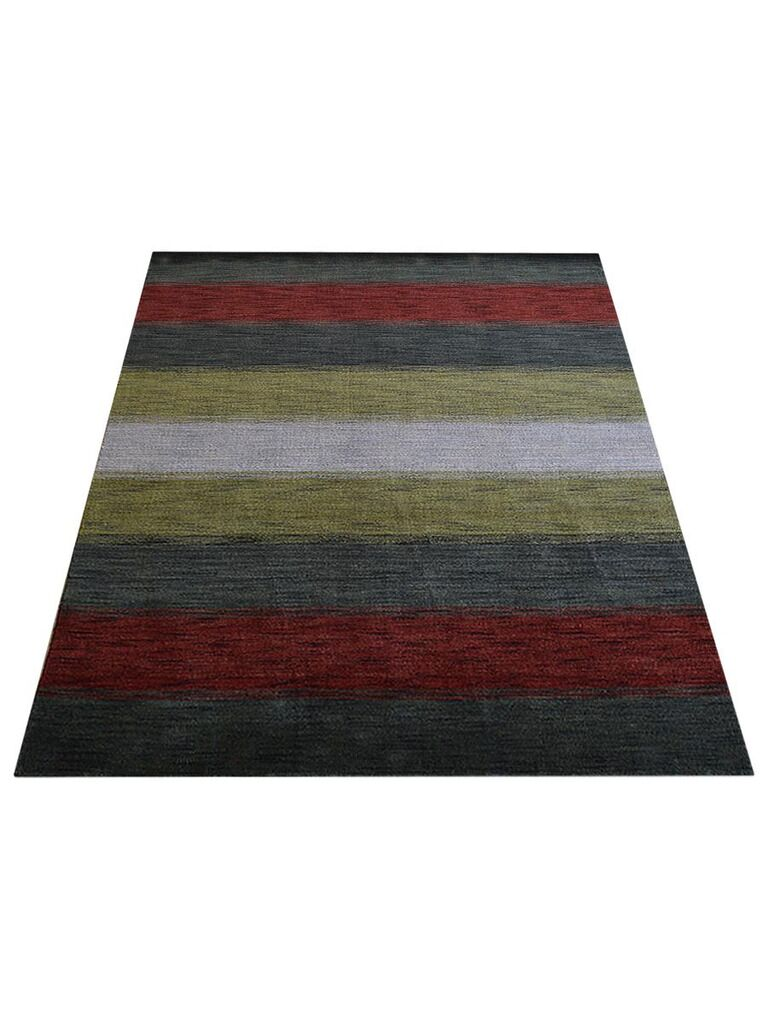 Ry Hand-Knotted Wool Gray/Red Area Rug Rug Size: Rectangle 5' x 8'