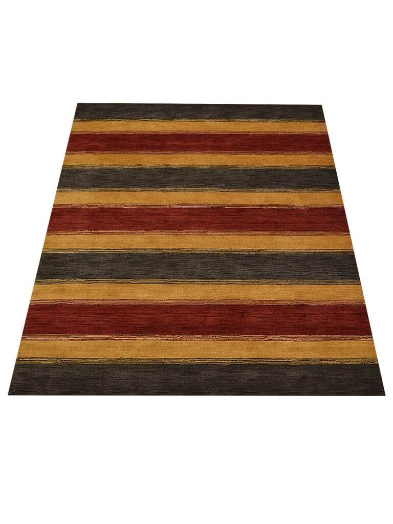 Ry Hand-Knotted Wool Charcoal/Gold Area Rug Rug Size: Rectangle 6' x 9'