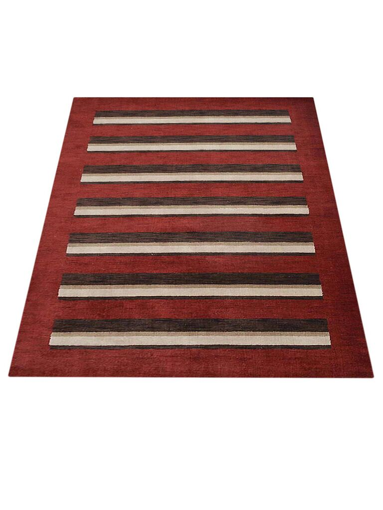 Ry Hand-Knotted Wool Red/Brown Area Rug Rug Size: Rectangle 9' x 12'