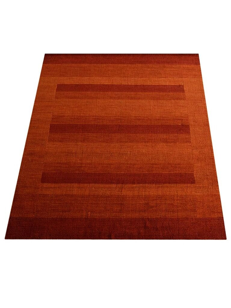 Ry Hand-Knotted Wool Orange/Red Area Rug Rug Size: Rectangle 9' x 12'