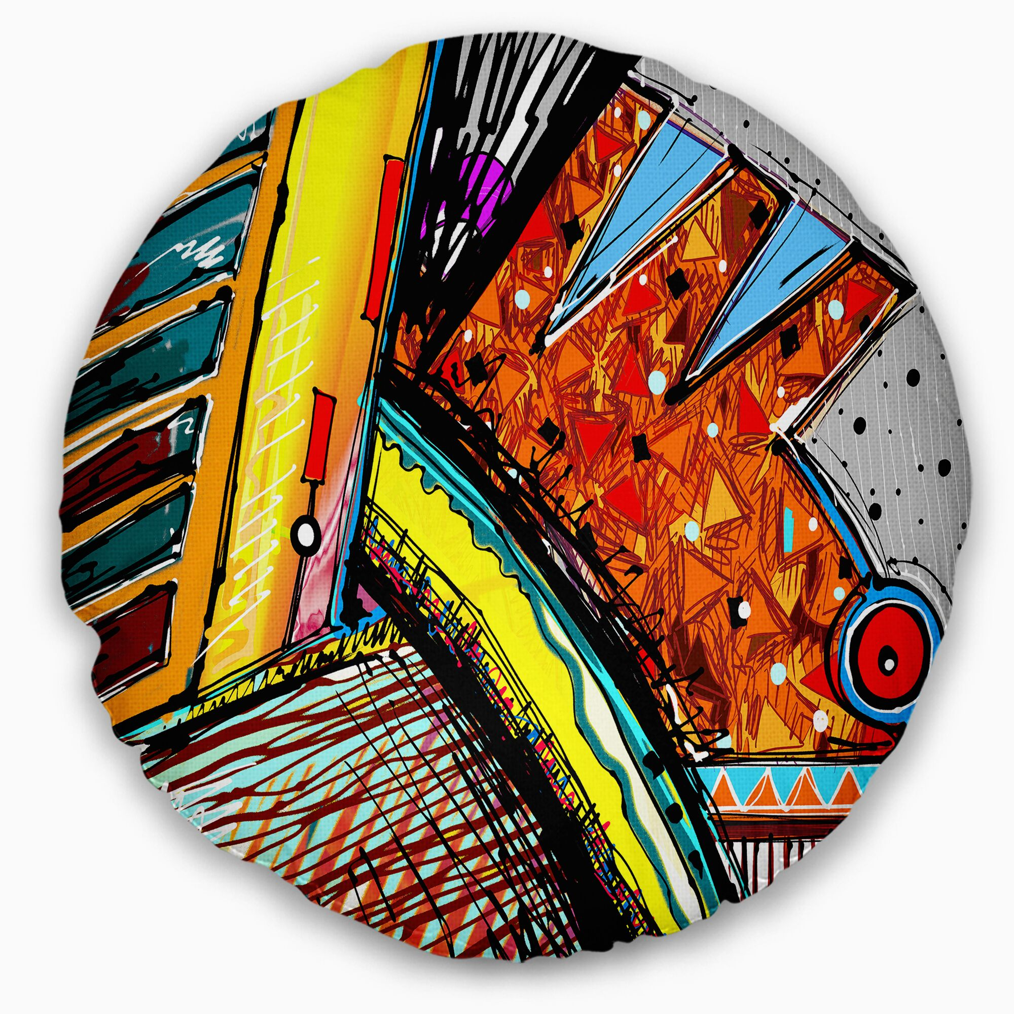 Colorful Abstract Illustration Throw Pillow Size: 20 Inches Round