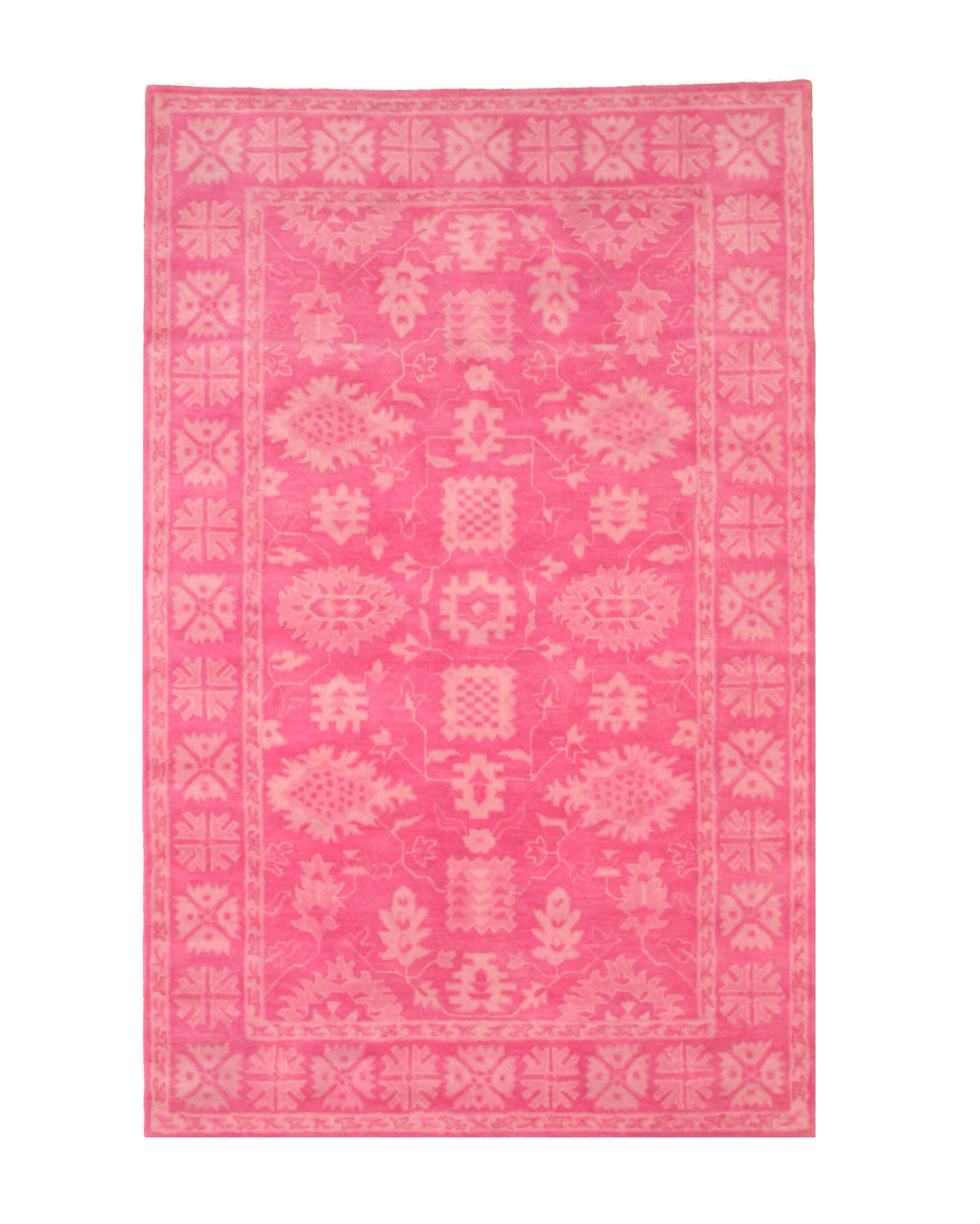 Meliton Traditional Oriental Overdyed Hand-Tufted Wool Pink Area Rug Rug Size: Rectangle 7'9