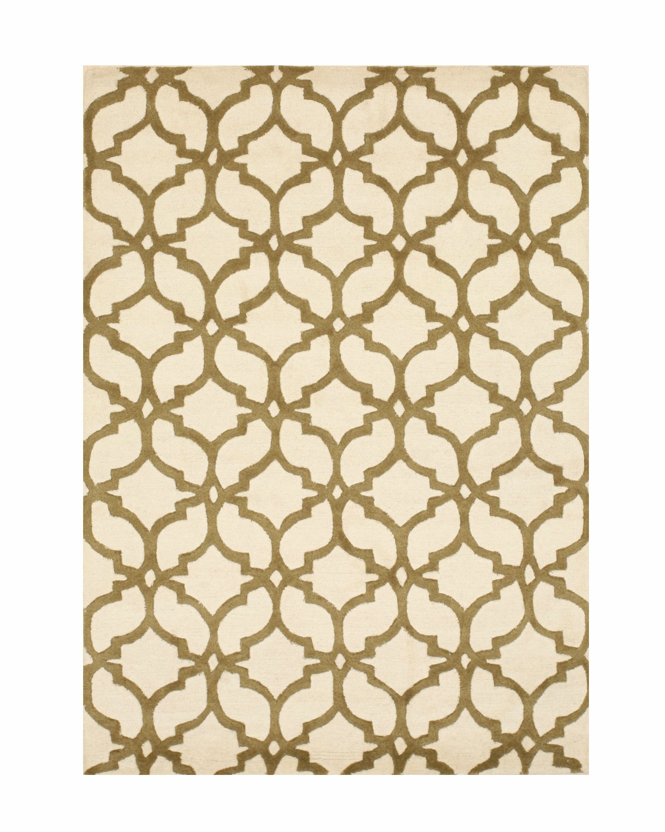 Innes Traditional Hand-Tufted Wool Ivory/Brown Area Rug Rug Size: Rectangle 7'6