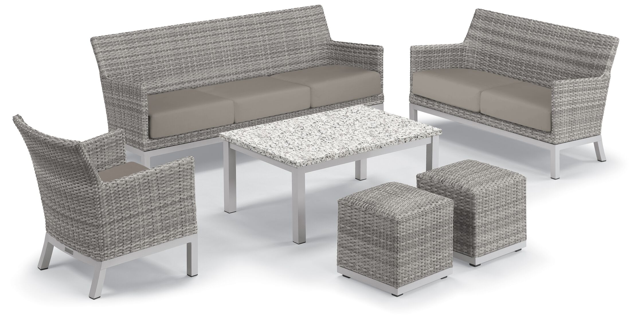 Linndale 6 Piece Rattan Conversation Set with Cushions Cushion Color: Stone, Table Top Color: Lite-Core Ash