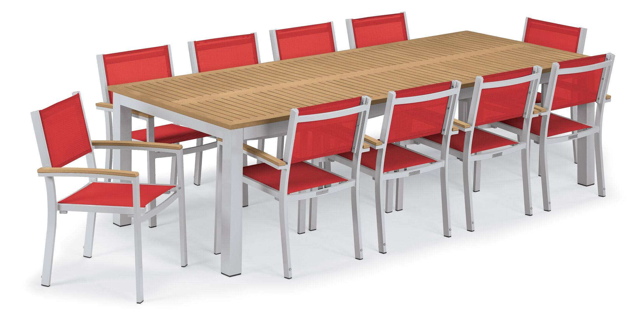 Maclin 11 Piece Dining Set Accessory Color: Red Sling, Color: Natural