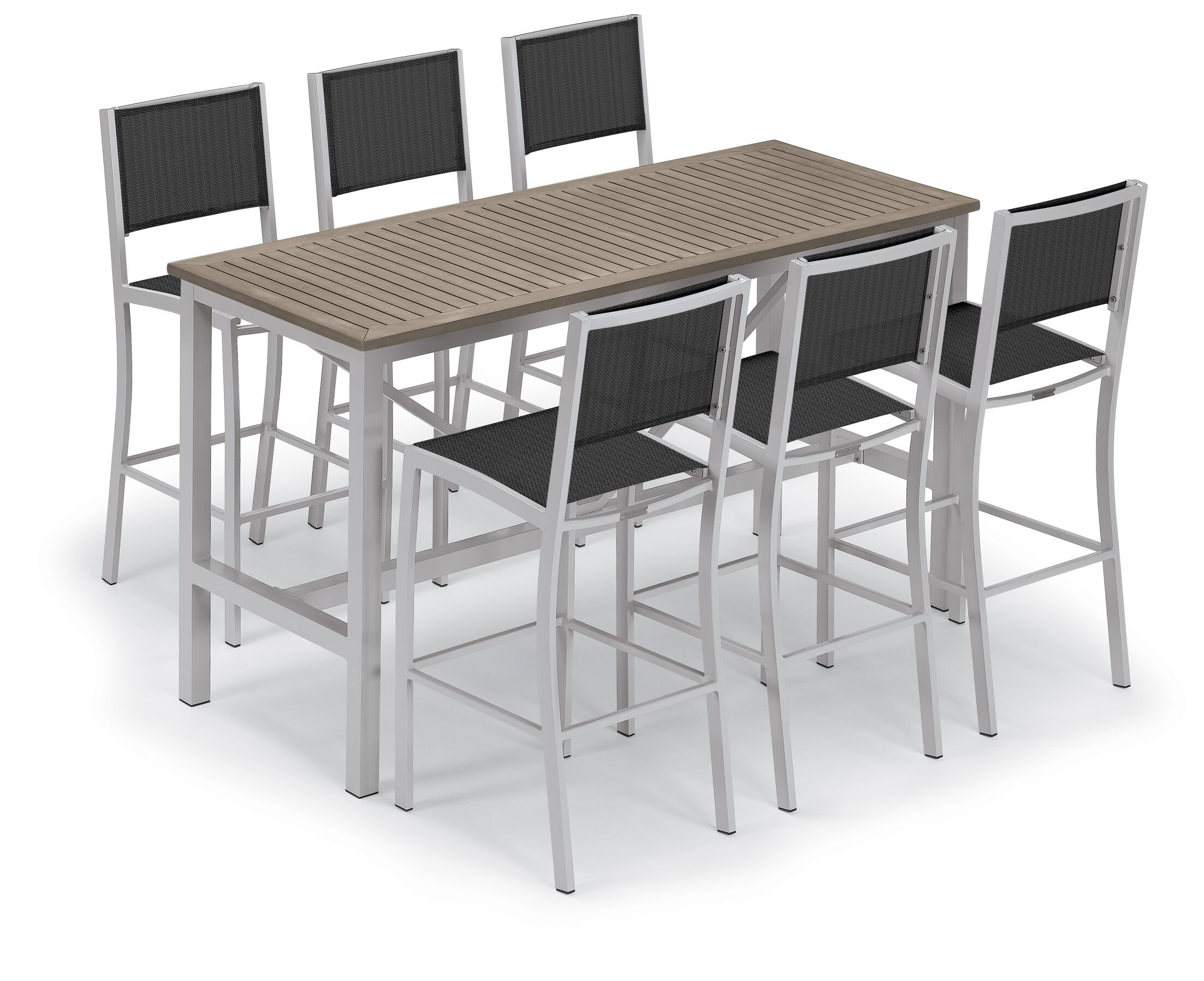 Maclin 7 Piece Bar Height Dining Set Color: Natural, Accessory Color: Slate Sling