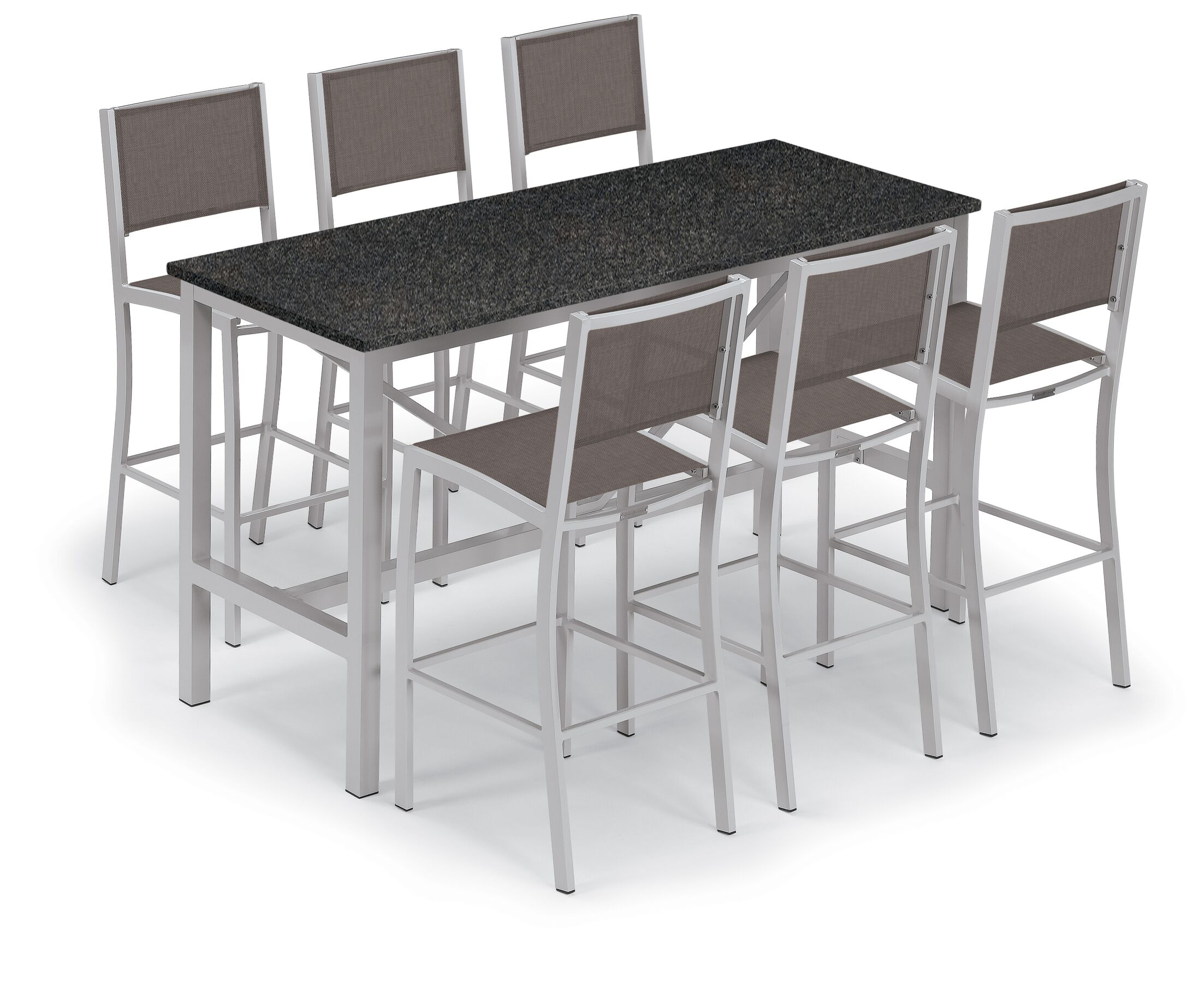 Travira 7 Piece Bar Height Dining Set Color: Lite-Core Charcoal, Accessory Color: Slate Sling