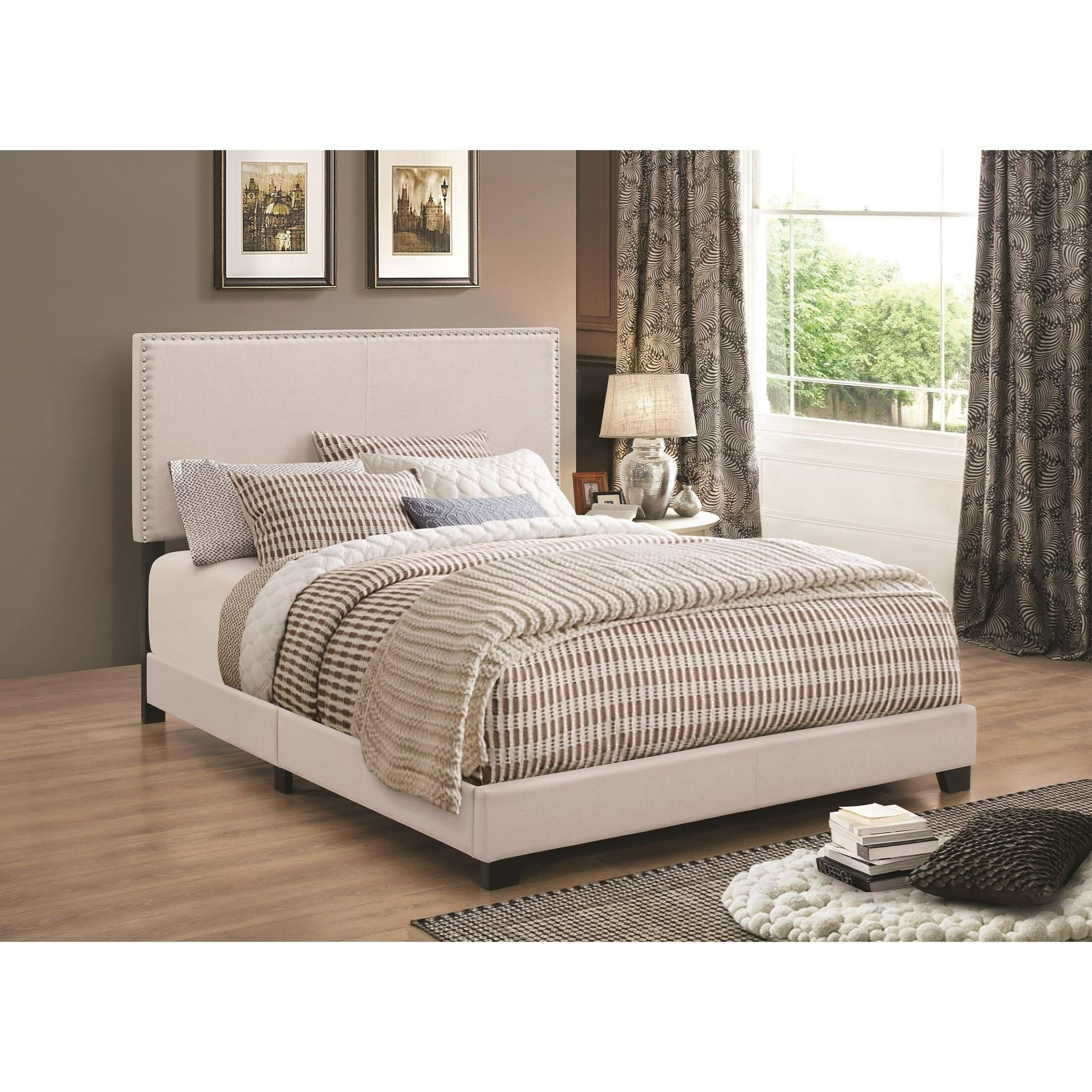 Kenworthy Upholstered Sleigh Bed Color: Ivory, Size: Twin