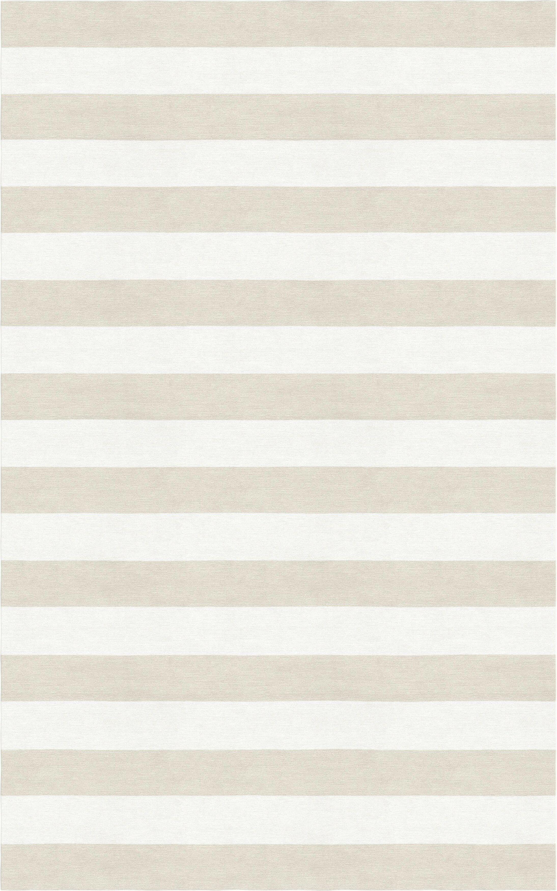 Bathory Stripe Hand-Tufted Wool Beige/White Area Rug Rug Size: Rectangle 8' x 10'