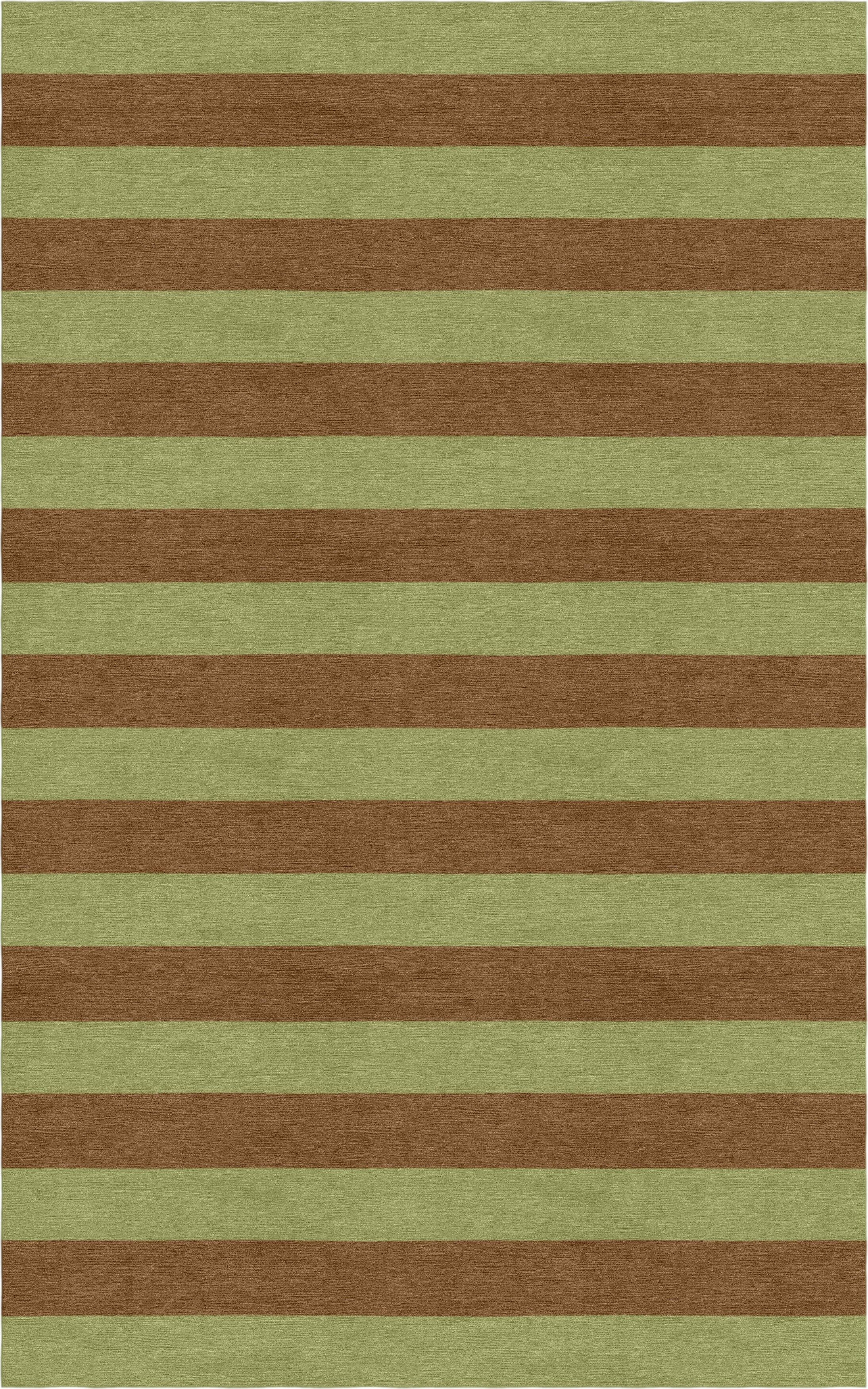 Shoemake Stripe Hand-Tufted Wool Olive/Brown Area Rug Rug Size: Rectangle 6' x 9'