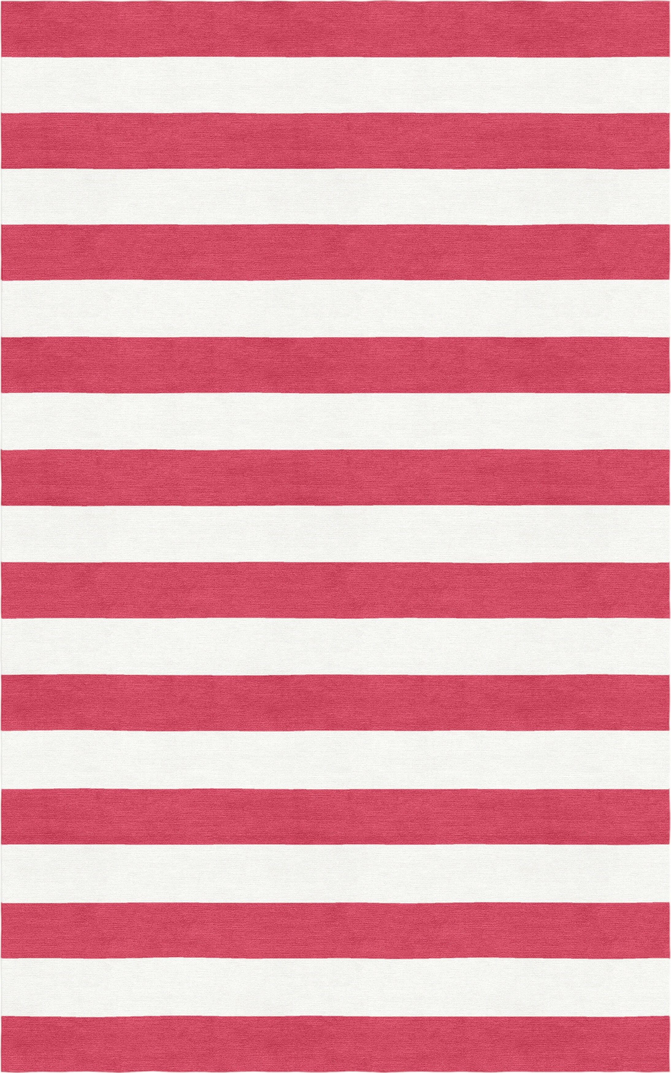Rauseo Stripe Hand-Tufted Wool Red/White Area Rug Rug Size: Rectangle 8' x 10'