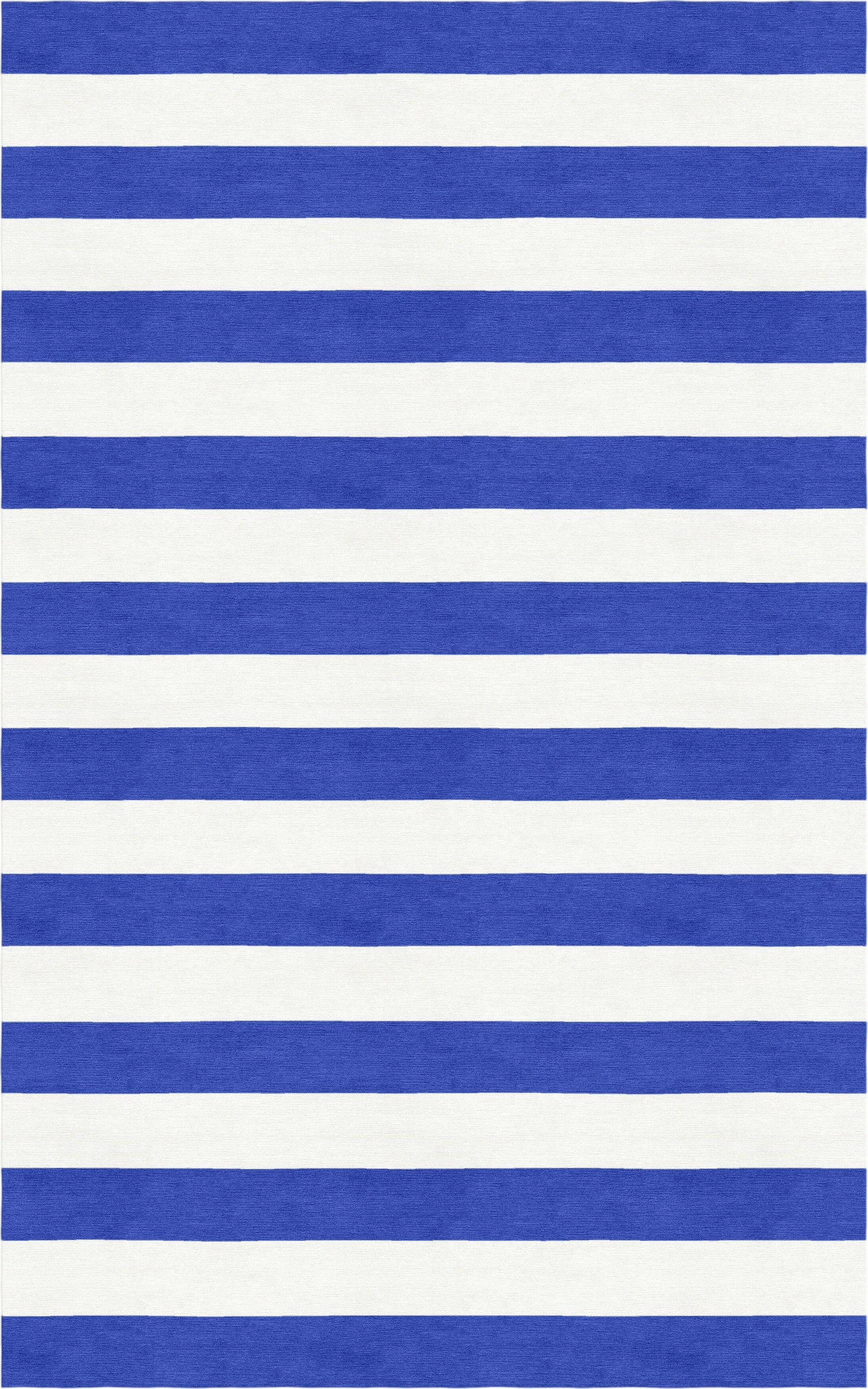 Hentish Stripe Hand-Tufted Wool Blue/White Area Rug Rug Size: Rectangle 9' x 12'