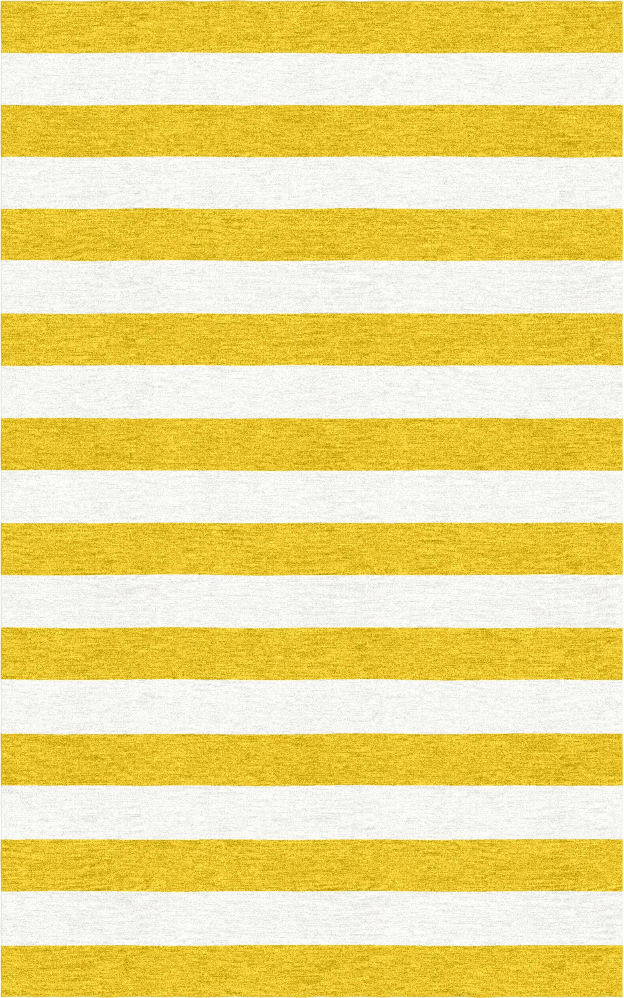LeClerc Stripe Hand-Tufted Wool Gold/White Area Rug Rug Size: Rectangle 9' x 12'