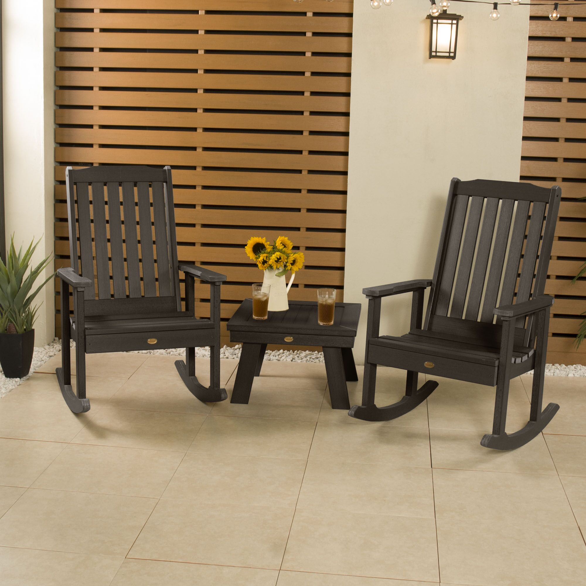 Mcnichols Rocking 2 Person Seating Group Color: Weathered Acorn
