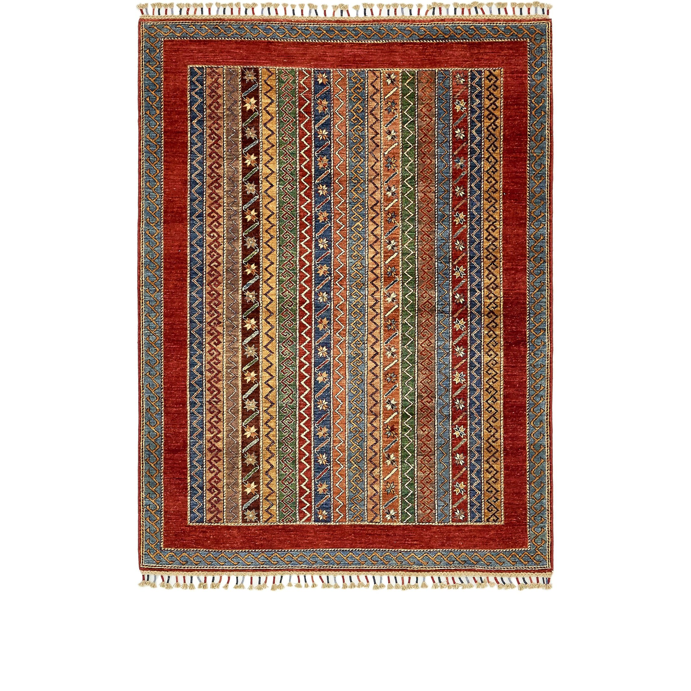 One-of-a-Kind Denver Hand-Knotted Wool Red/Green Area Rug