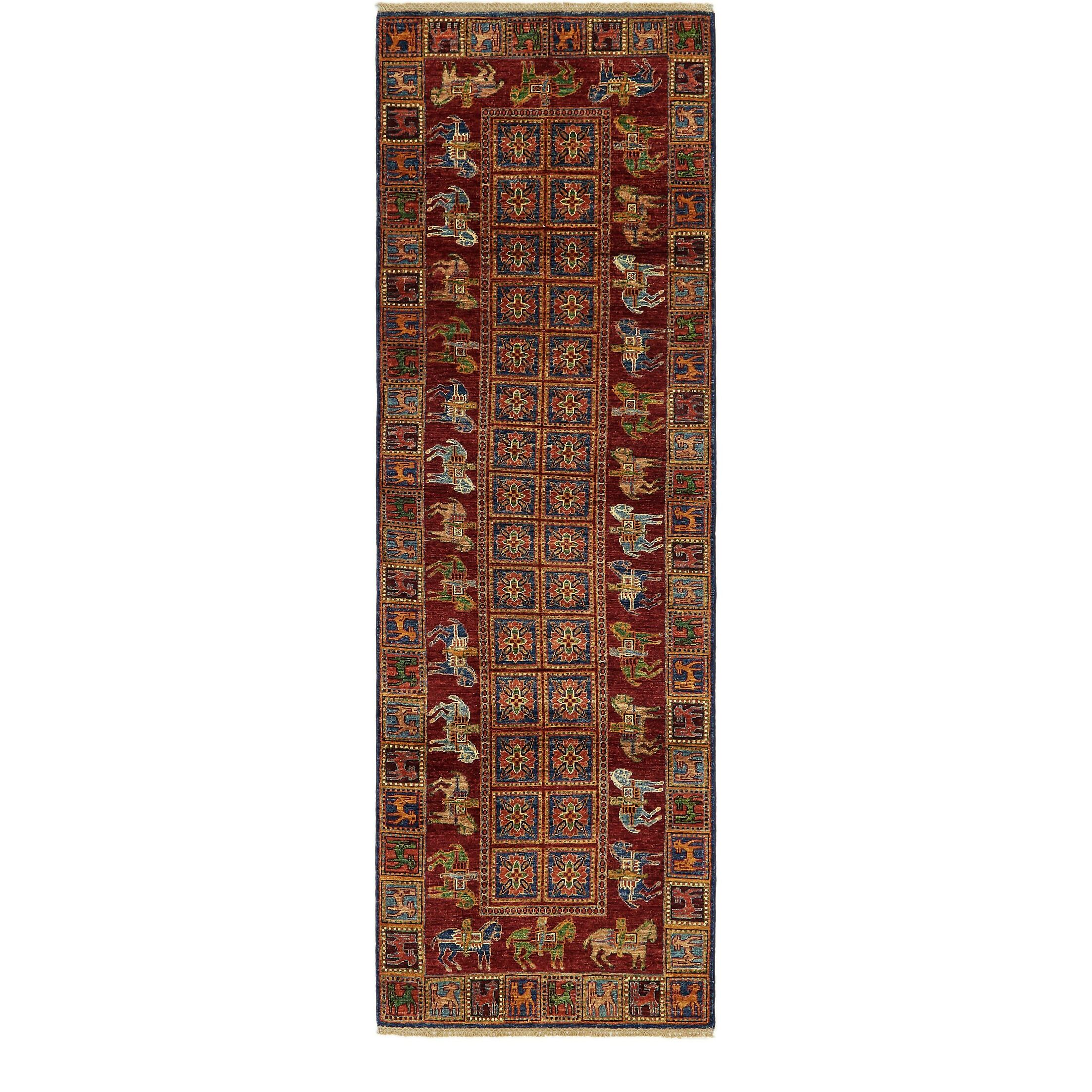 One-of-a-Kind Denver Hand-Knotted Wool Red/Navy Blue Area Rug