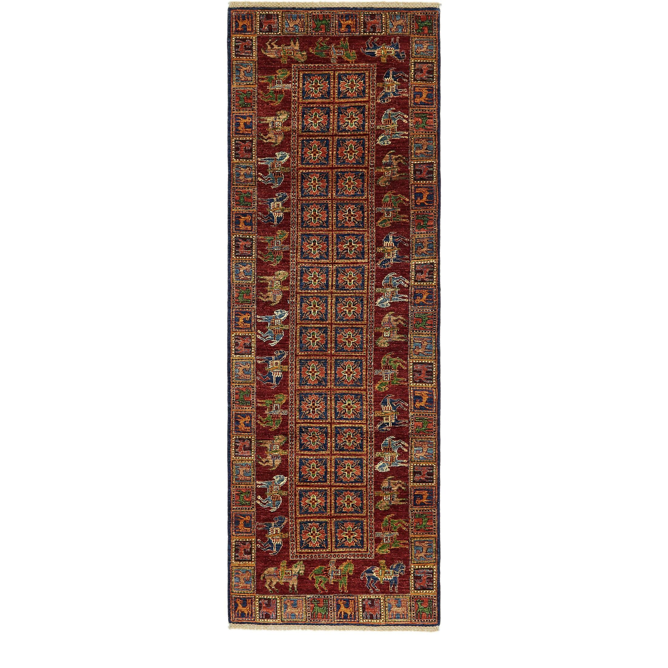 One-of-a-Kind Denver Hand-Knotted Wool Beige/Red Area Rug