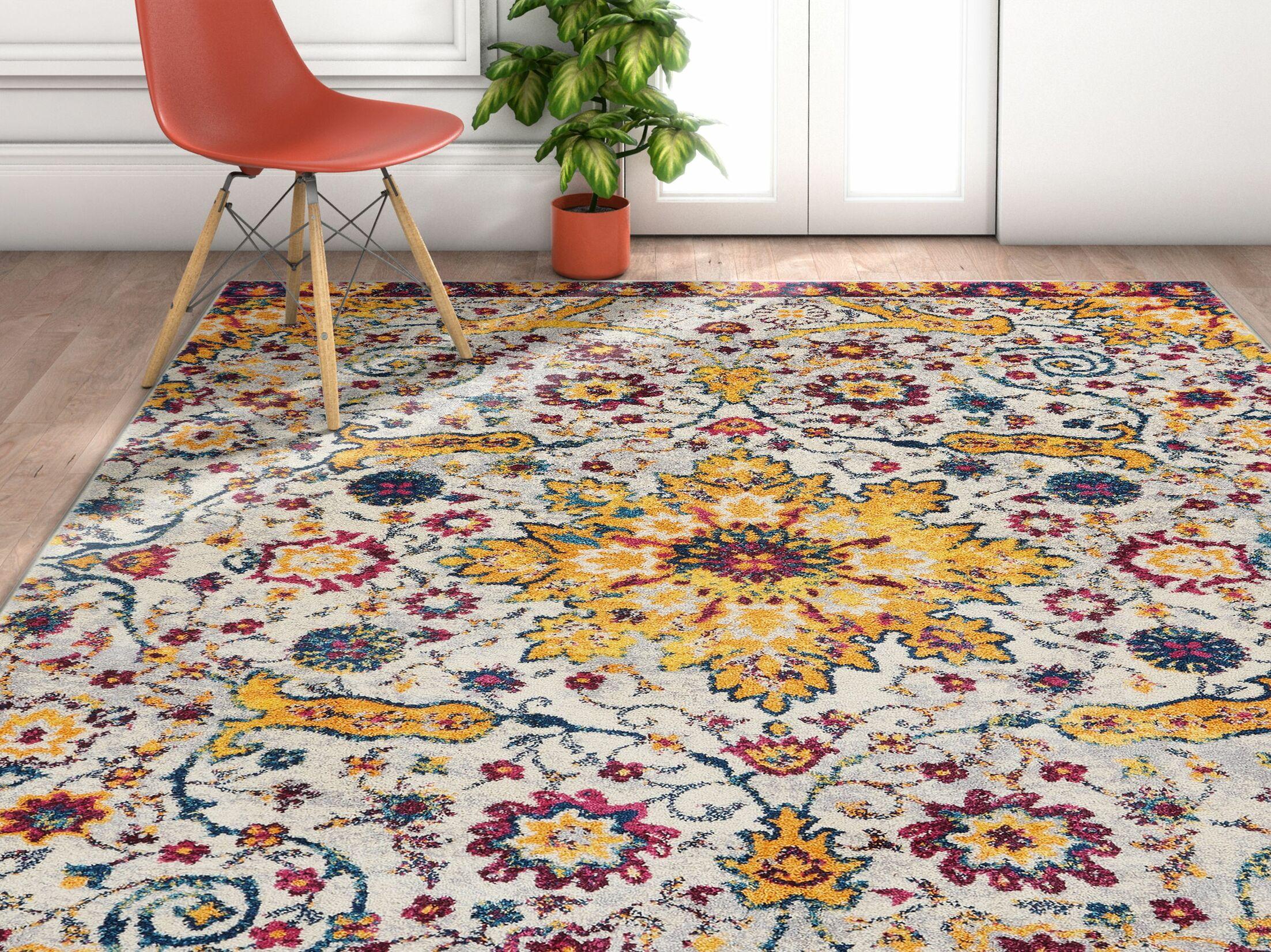 Binstead Wonderly Modern Persian Oriental Floral Gold Area Rug Rug Size: Rectangle 5'3