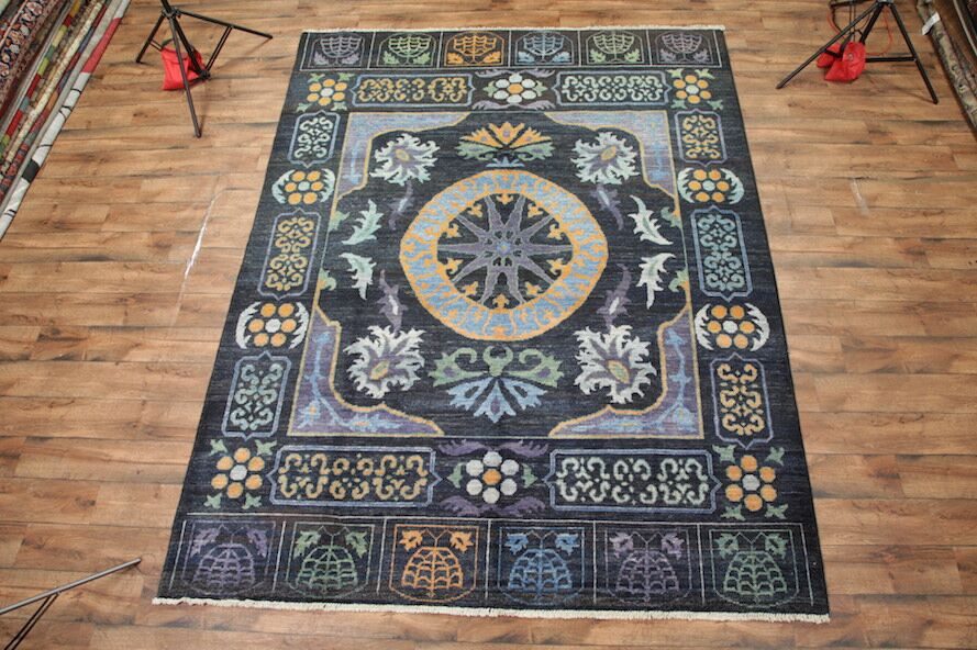 One-of-a-Kind Bovill Kaitag Pakistan Oriental Hand-Knotted Wool Blue Area Rug