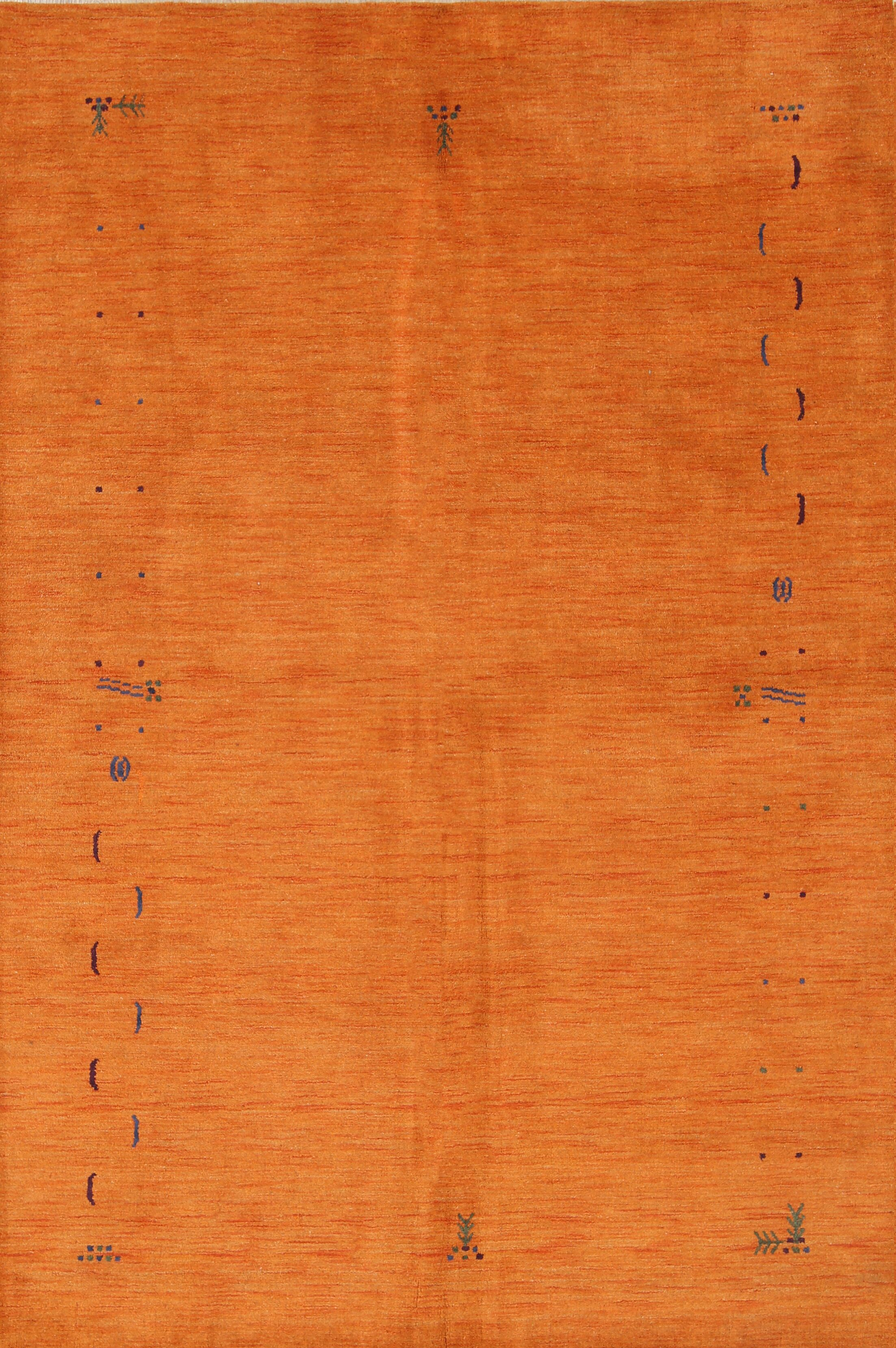 Seidman Indian Oriental Hand-Woven Wool Orange Area Rug