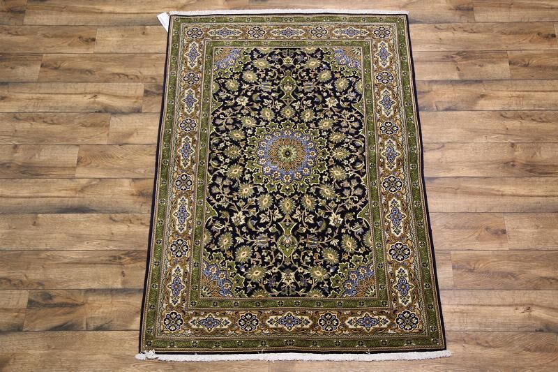 One-of-a-Kind Folks Qum Classical Qom Persian Hand-Knotted 4'10