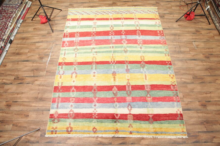 One-of-a-Kind Kenia Morocco Oriental Hand-Knotted Wool Red/Yellow Area Rug
