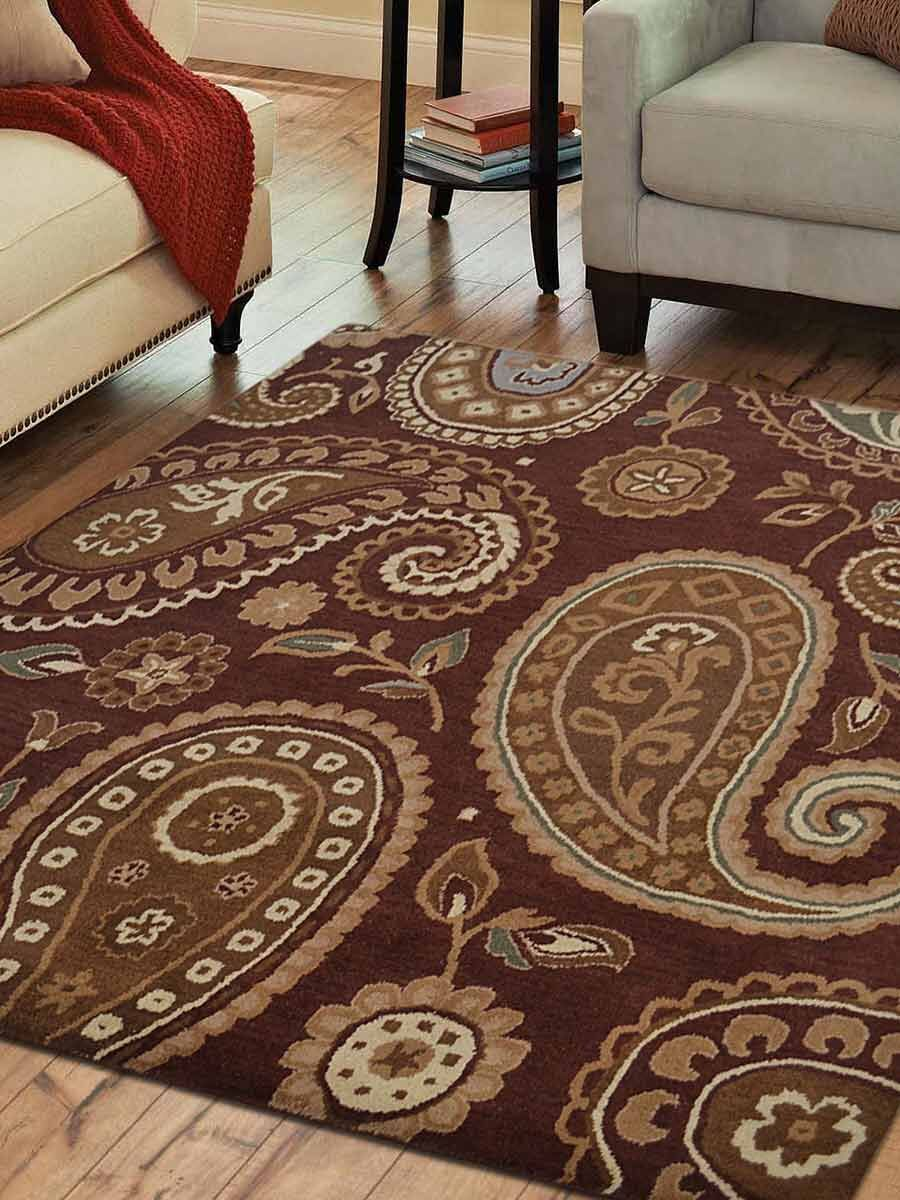 Bovill Agra Oriental Hand-Tufted Wool Brown Area Rug