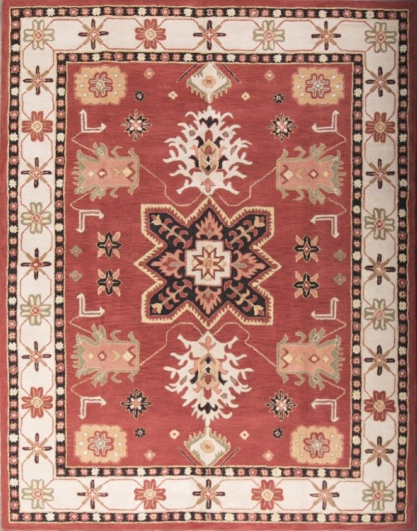 Poe Oriental Square Hand-Tufted Wool Red Area Rug