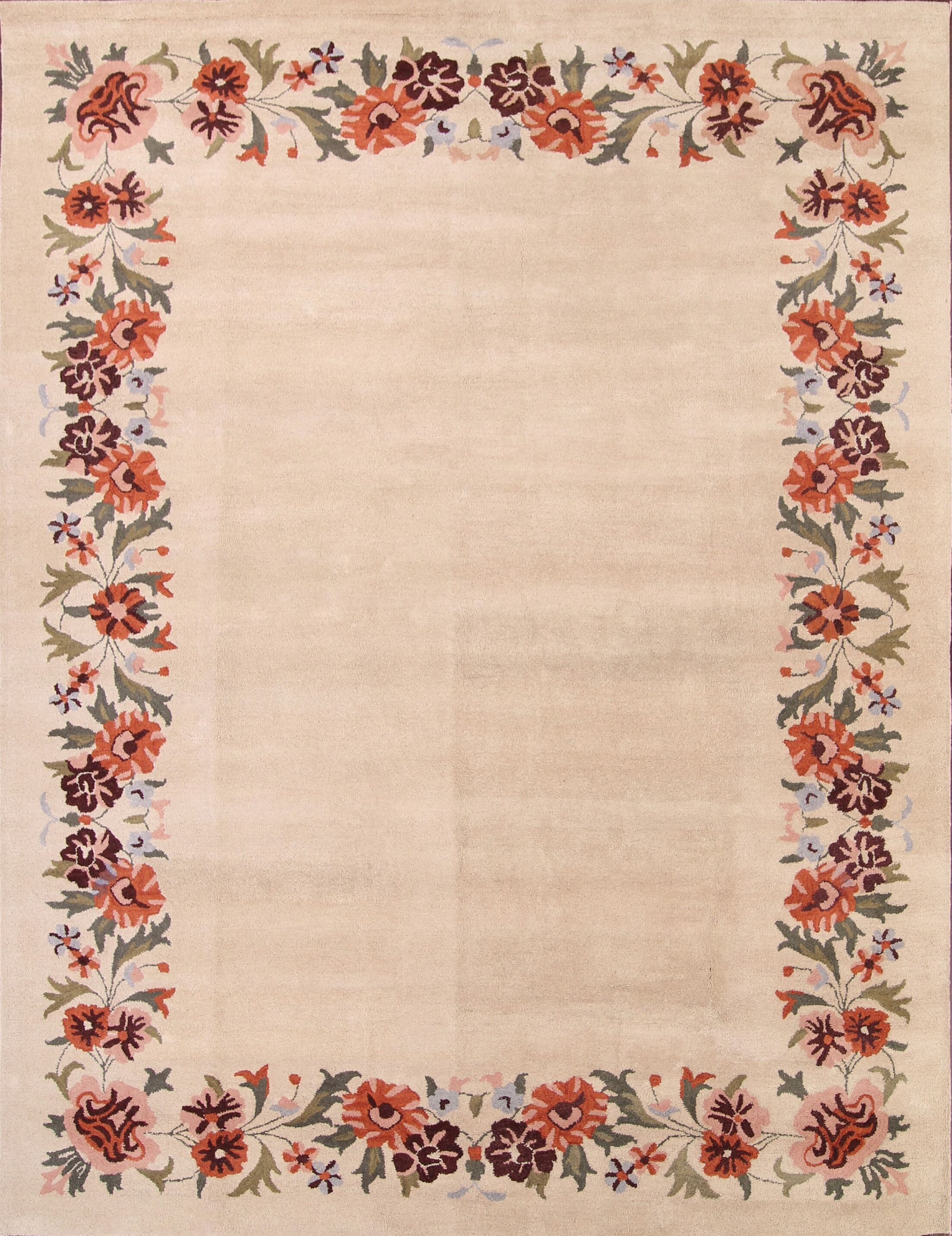 Bovill Kashan Oriental Hand-Tufted Wool Beige Area Rug
