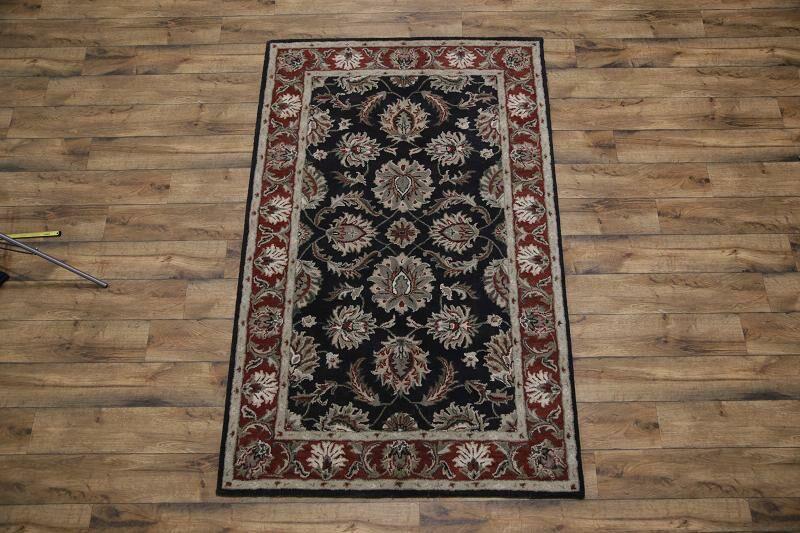 Batson Jaipur Oriental Hand-Tufted Wool Black/Red Area Rug