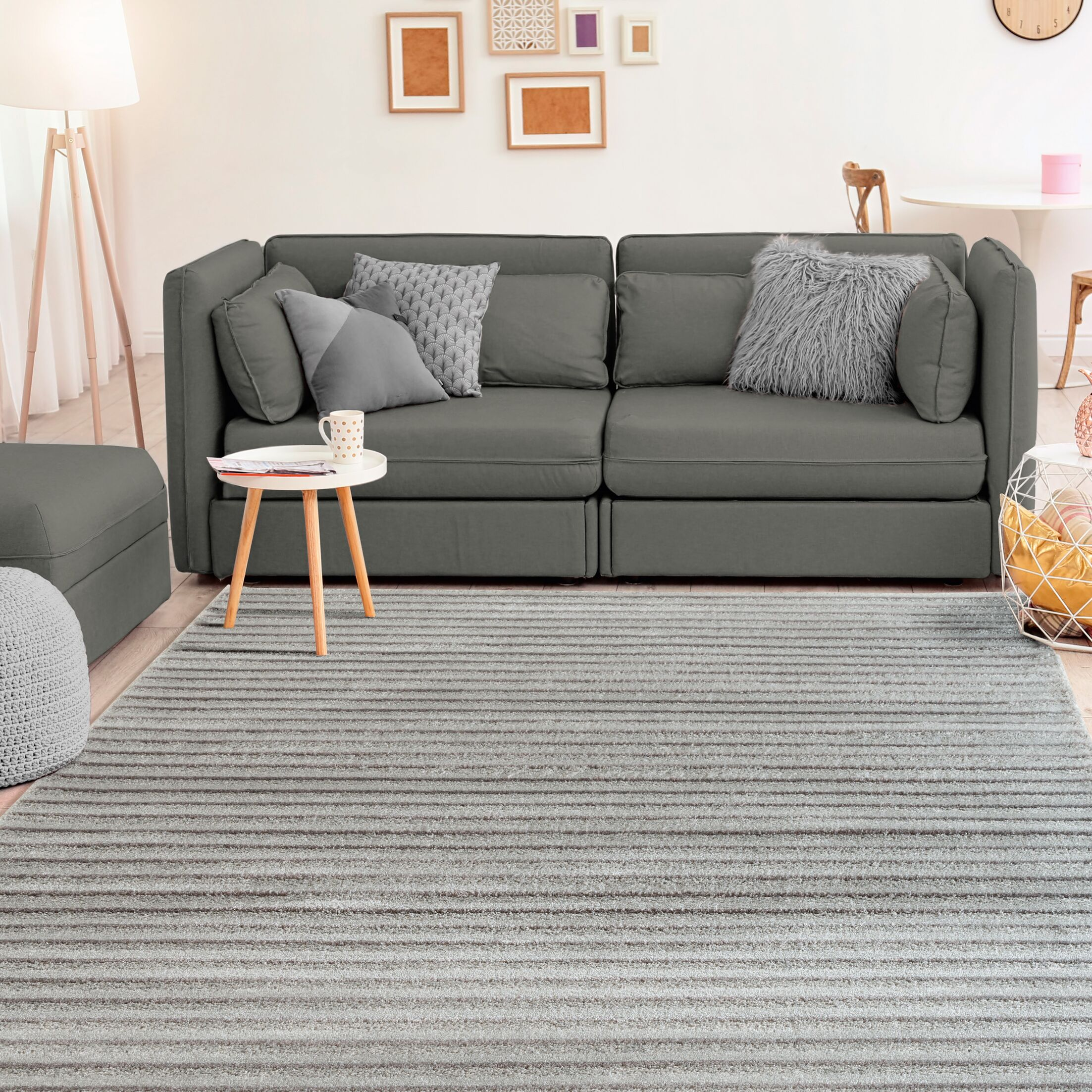 Ospina Accent Gray/Brown Area Rug Rug Size: Rectangle 1'10