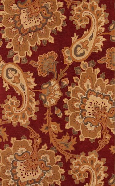 Bovill Agra Oriental Hand-Tufted Wool Burgundy/Beige Area Rug Rug Size: Rectangle 5' x 7'11