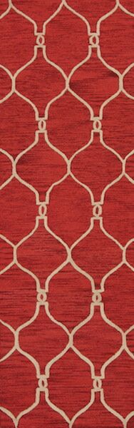 Bovill Moroccan Trellis Oriental Hand-Tufted Wool Red Area Rug