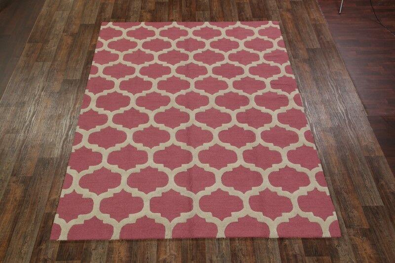 Senna Trellis Oriental Hand-Tufted Wool Pink Area Rug Rug Size: Rectangle 8'1
