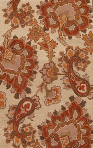 Erkson Floral Agra Tabriz Oriental Hand-Tufted Wool Ivory/Brown Area Rug