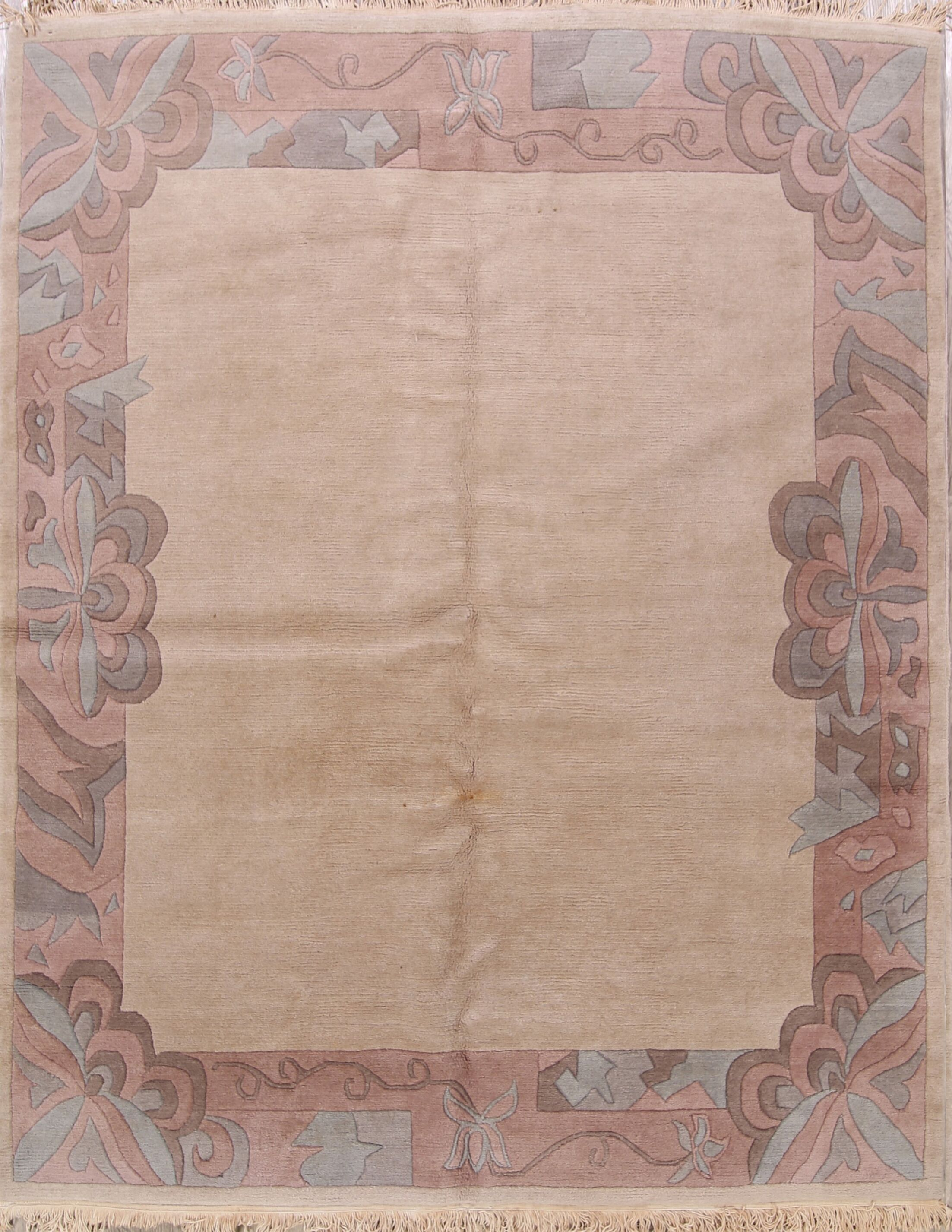 One-of-a-Kind Phineas Tibetan Oriental Hand-Knotted Wool Beige Area Rug