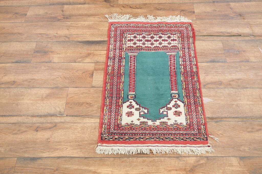 One-of-a-Kind Adriel Oriental Hand-Knotted Wool Red/Green Area Rug