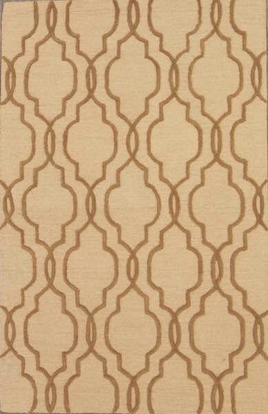 Senna Trellis Oushak Oriental Hand-Tufted Wool Beige Area Rug