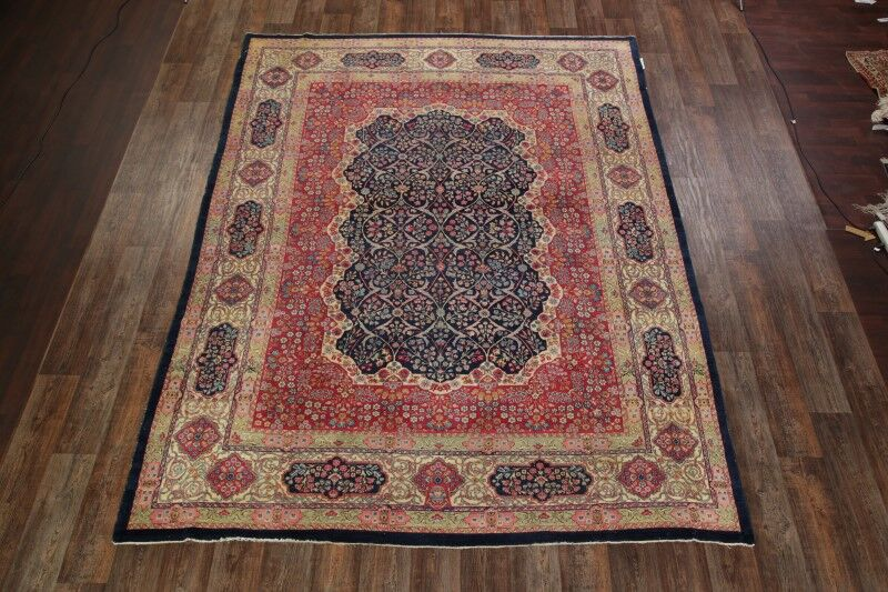 One-of-a-Kind Kerman Lavar Ravar Persian Hand-Knotted 8'8