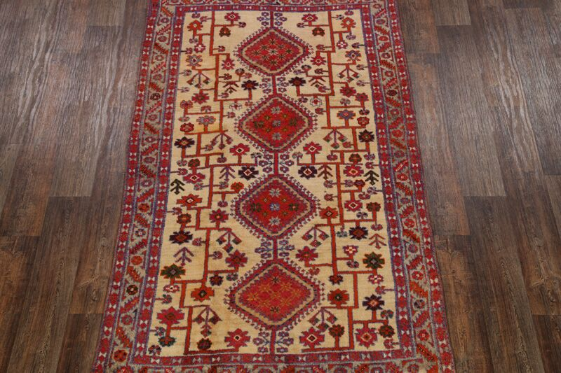 One-of-a-Kind Elizondo Heriz Bakhshayesh Geometric Persian Hand-Knotted 4'9