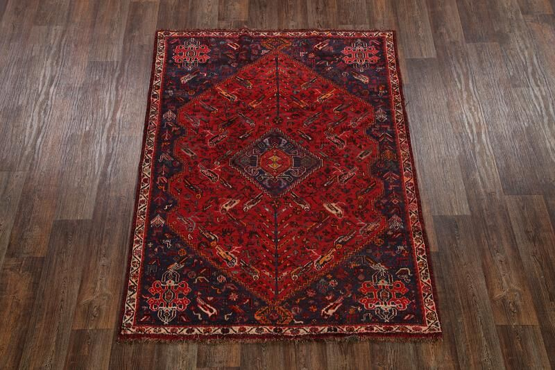 One-of-a-Kind Abadeh Traditional Shiraz Persian Hand-Knotted 5' x 7'1