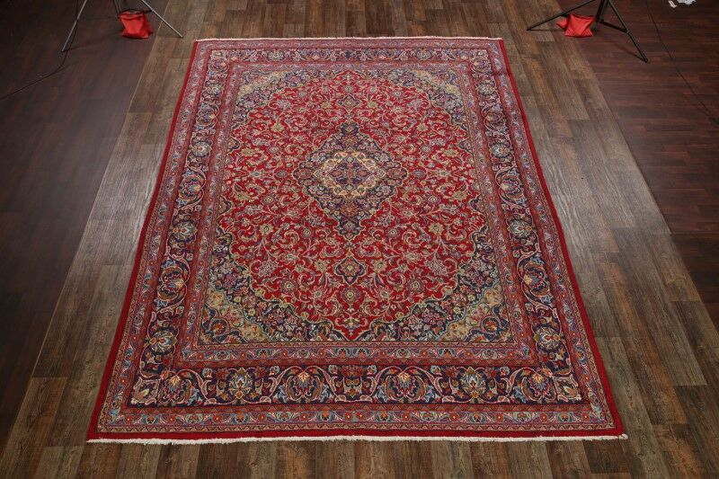 One-of-a-Kind Mccandless Classical Mashad Persian Hand-Knotted 9'4