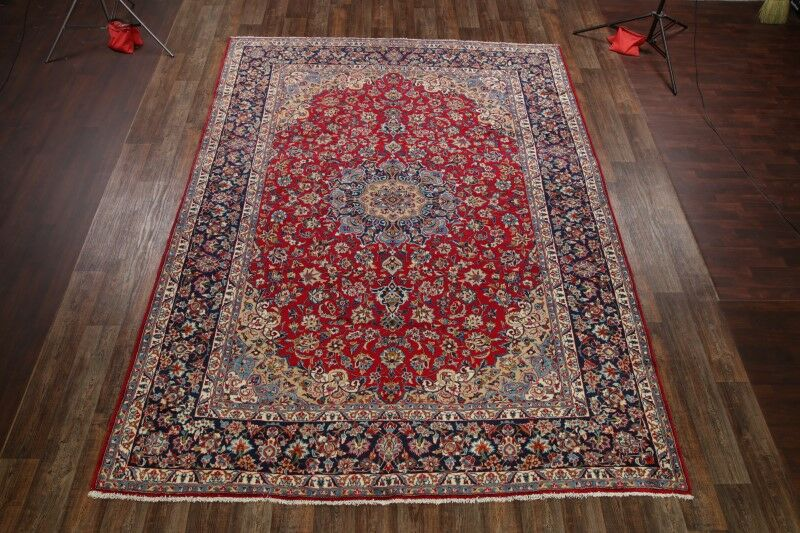 One-of-a-Kind Moffat Floral Najafabad Isfahan Persian Hand-Knotted 9'8