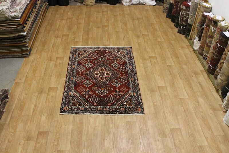 One-of-a-Kind Traditional Geometric Bakhtiari Persian Hand-Knotted 4'6