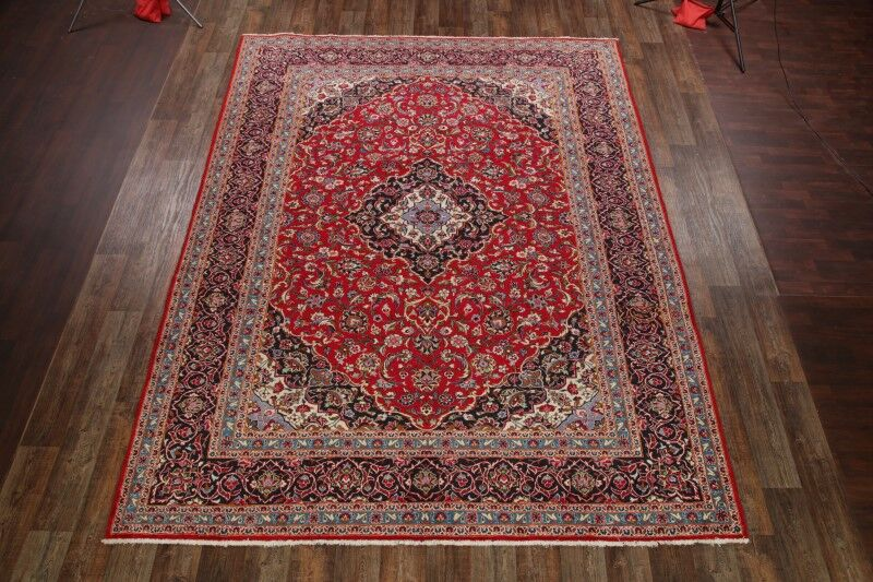 One-of-a-Kind Mizell Kashan Traditional Persian Hand-Knotted 9'8