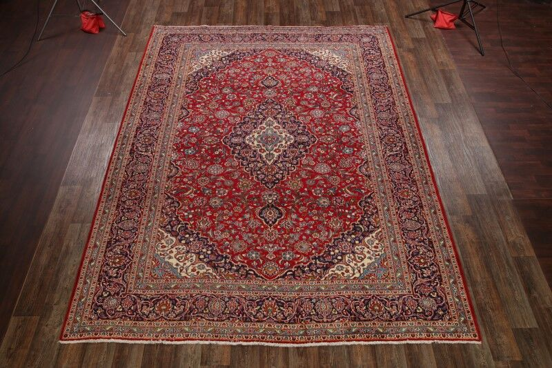 One-of-a-Kind Notasulga Traditional Kashan Persian Hand-Knotted 9'10
