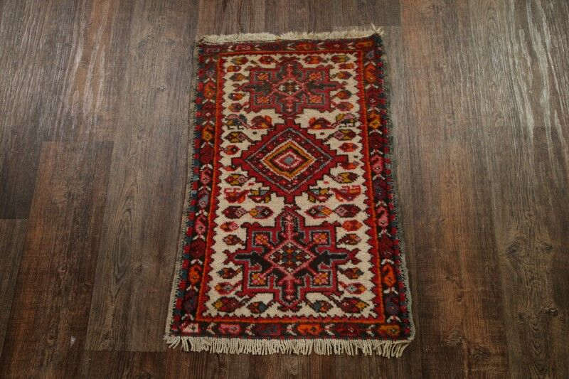 One-of-a-Kind Traditional Gharajeh Persian Hand-Knotted 1'10